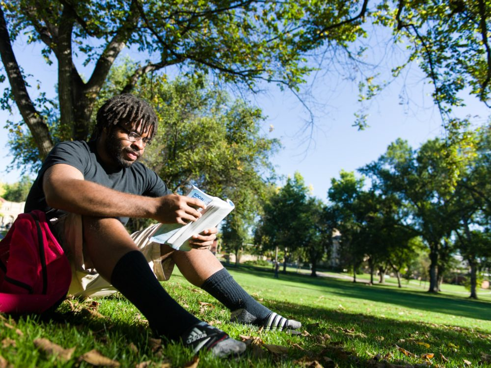 A student studying on the CSU Oval.